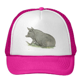 Gray Pig Piggy Children's Book Illustration Trucker Hat