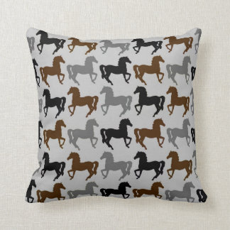 Gray Pillow: Black, Gray, Brown Horses Silhouettes