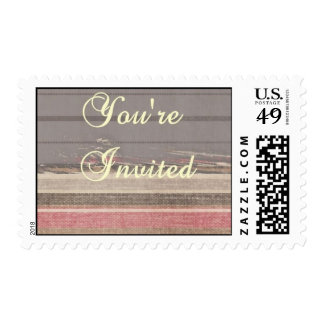 Gray, Pink, and Beige Striped Invitation Stamp