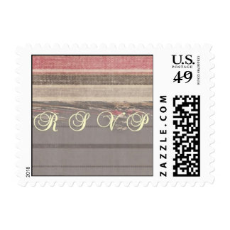 Gray, Pink, and Beige Striped RSVP Stamp