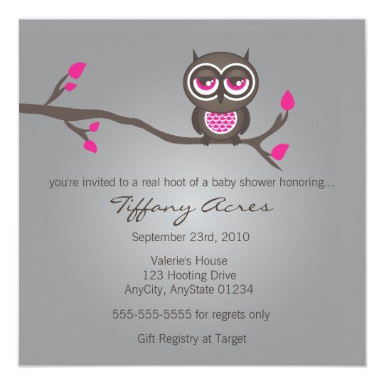 Gray, Pink and Brown Owl Invitation