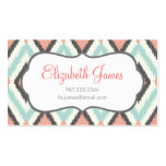 Gray Pink and Mint Tribal Ikat Chevron Business Card Template