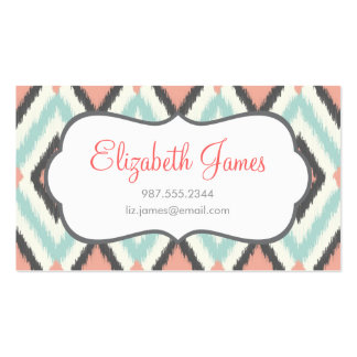 Gray Pink and Mint Tribal Ikat Chevron Double-Sided Standard Business Cards (Pack Of 100)