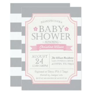 Gray & Pink Baby Shower Invitation