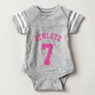 Gray & Pink Baby | Sports Jersey Design Baby Bodysuit