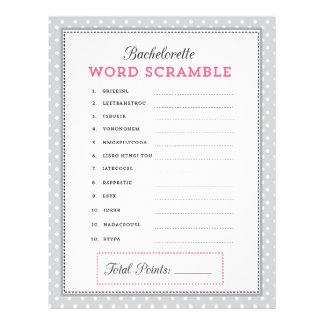 Gray & Pink Bachelorette Word Scramble Game Flyers