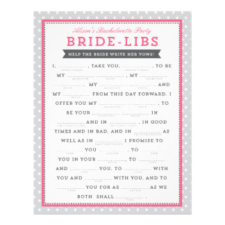 Gray & Pink Bride Libs Game Flyer