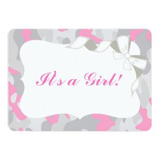 Gray Pink Camo Baby Shower Invitation Invite