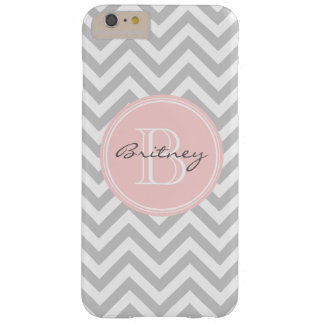 Gray Pink Chevron Pattern Custom Monogram Barely There iPhone 6 Plus Case