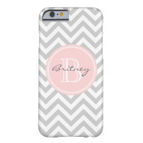 Gray Pink Chevron Pattern Custom Monogram Barely There iPhone 6 Case