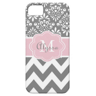 Gray Pink Chevron Personalized iPhone 5 Covers