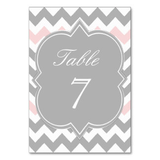 Gray Pink Chevron Table Number Card