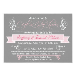 "gray pink Couple's Baby shower Invitation 5"" X 7"" Invitation Card"