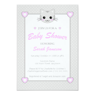 Gray Pink Cute Kawaii Cartoon Cat Baby Shower Spot Card
