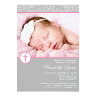 Gray Pink Damask Cross Girl Photo Baptism Card