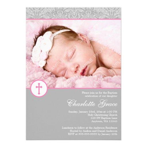 Gray Pink Damask Cross Girl Photo Baptism Announcement
