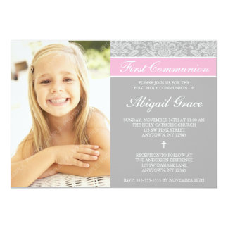 Gray Pink Damask Girl Photo First Communion 5x7 Paper Invitation Card