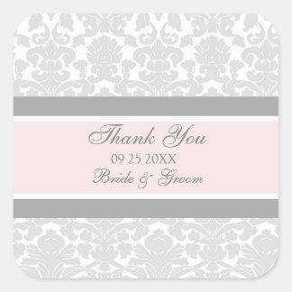 Gray Pink Damask Thank You Wedding Favor Tags