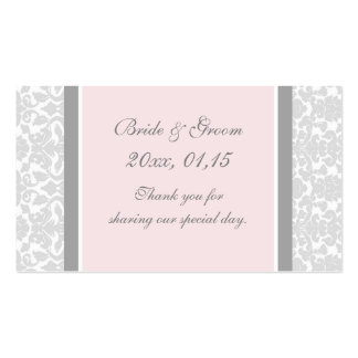 Gray Pink Damask Wedding Favor Tags Double-Sided Standard Business Cards (Pack Of 100)