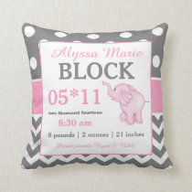 Gray Pink Elephant Baby Announcement Pillow