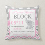 "Gray Pink Elephant Baby Announcement Pillow<br><div class=""desc"">This adorable pink and gray dots and chevron with a cute elephant is a cute and fun way to show off your baby&#39;s birth. Graphics delightful-doodles.com</div>"