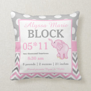 Gray Pink Elephant Baby Announcement Pillow at Zazzle