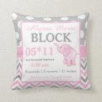Gray Pink Elephant Baby Announcement Pillow (<em>$32.75</em>)