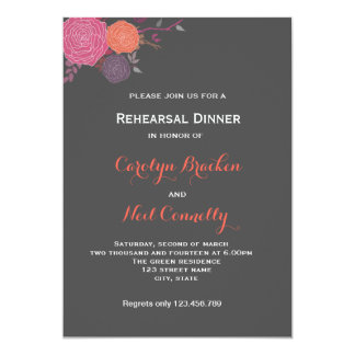 "Gray Pink Flowers Romantic Rehearsal Dinner Card 5"" X 7"" Invitation Card"