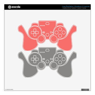 Gray & Pink Gaming Controller Skins Decal For PS3 Controller