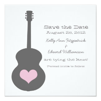Gray/Pink Guitar Heart Save the Date Invite
