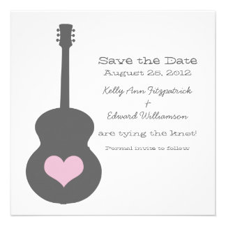 Gray Pink Guitar Heart Save the Date Invite