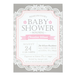 Gray Pink & Lace Baby Shower Invitation