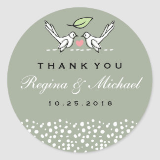 Gray Pink Love Birds Doodle Wedding Favor Sticker
