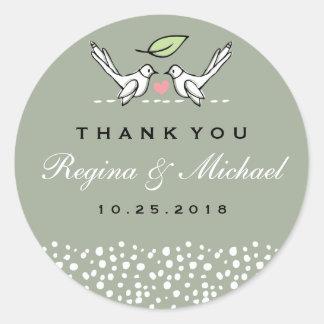 Gray Pink Love Birds Doodle Wedding Favor Sticker