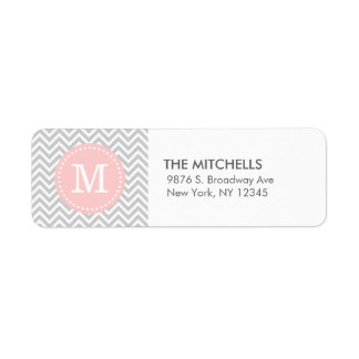 Gray Pink Modern Chevron Custom Monogram Return Address Label