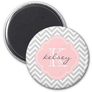 Gray & Pink Modern Chevron Custom Monogram Magnets