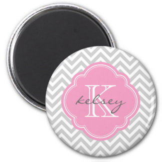 Gray & Pink Modern Chevron Custom Monogram Magnet