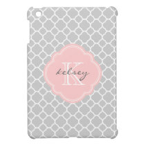 Gray & Pink Modern Quatrefoil Custom Monogram Case For The iPad Mini