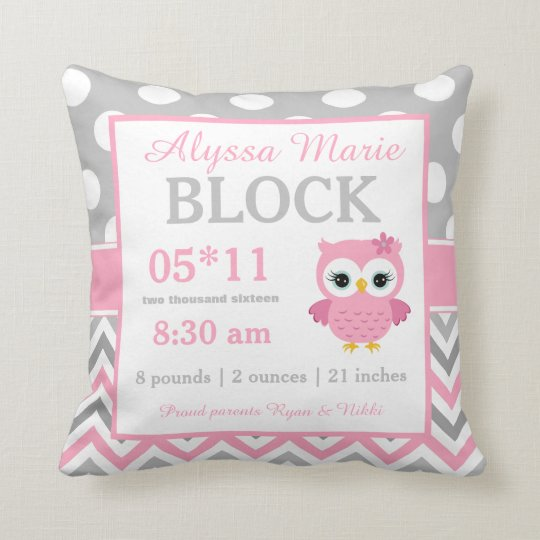 Gray Pink Owl Baby Announcement Pillow