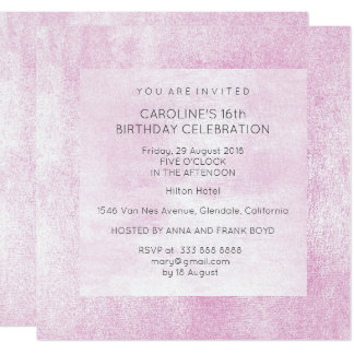 Gray Pink Powder Birthday Party Painting Card