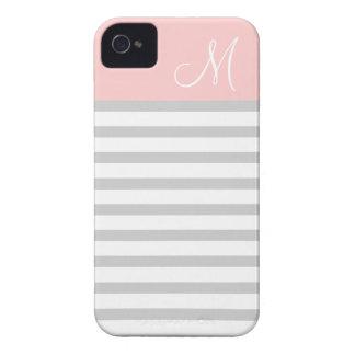 Gray & Pink Preppy Stripes Custom Monogram Case-Mate iPhone 4 Case