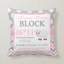 Gray Pink Sheep Baby Announcement Pillow