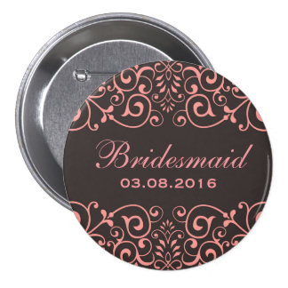 Gray Pink Victorian Floral Swirl Bridesmaid Button