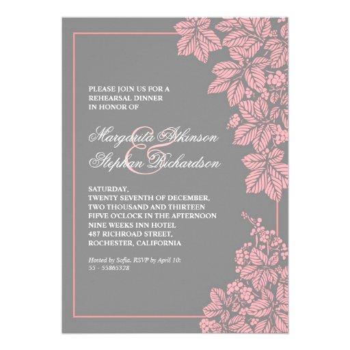 gray & pink vineyard rehearsal dinner invites