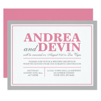 Gray & Pink Wedding Reception ONLY Invitations