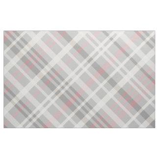 gray pink white diagonal plaid fabric
