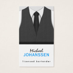 Gray Pinstripe Suit Vest And Black Tie Bartender Business Card at Zazzle