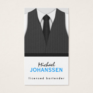 Gray Pinstripe Suit Vest and Black Tie Bartender Business Card