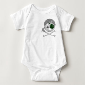 Gray Pirate Skull Dist 2-Sided Infant Creeper