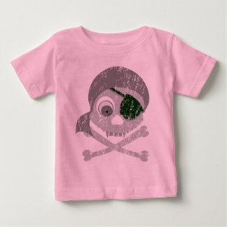 Gray Pirate Skull Distressed Infant T-Shirt